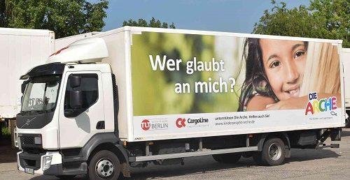 CargoLine macht kostenlos Werbung für Die ARCHE
