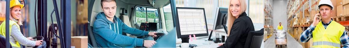 Staplerfahrer, Hallenmitarbeiter, Speditionskaufmann für Spedition und Logistikdienstleistung, Berufskraftafhrer, Lagerfachkraft