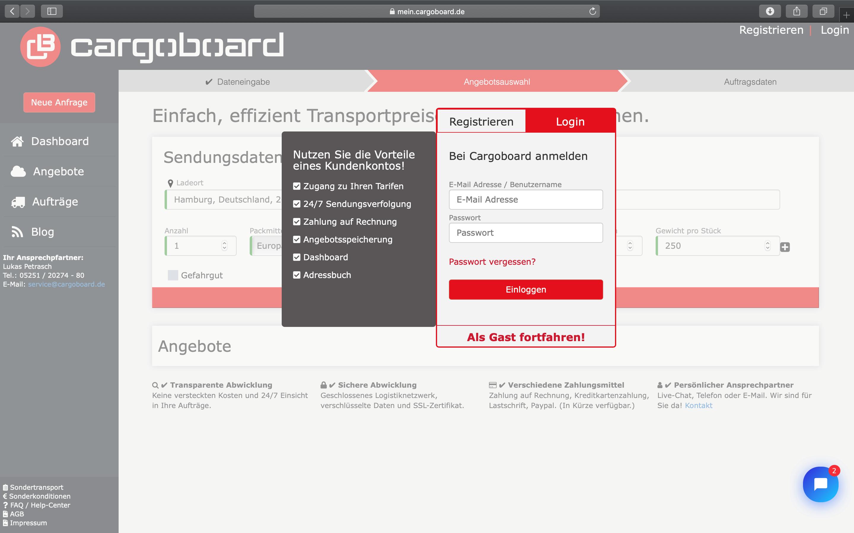 Cargoboard ist eine digitale Spedition zur unkomplizierten Onlinebuchung von Transporten mit CargoLine